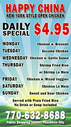 Happy China $4.95 Daily Special